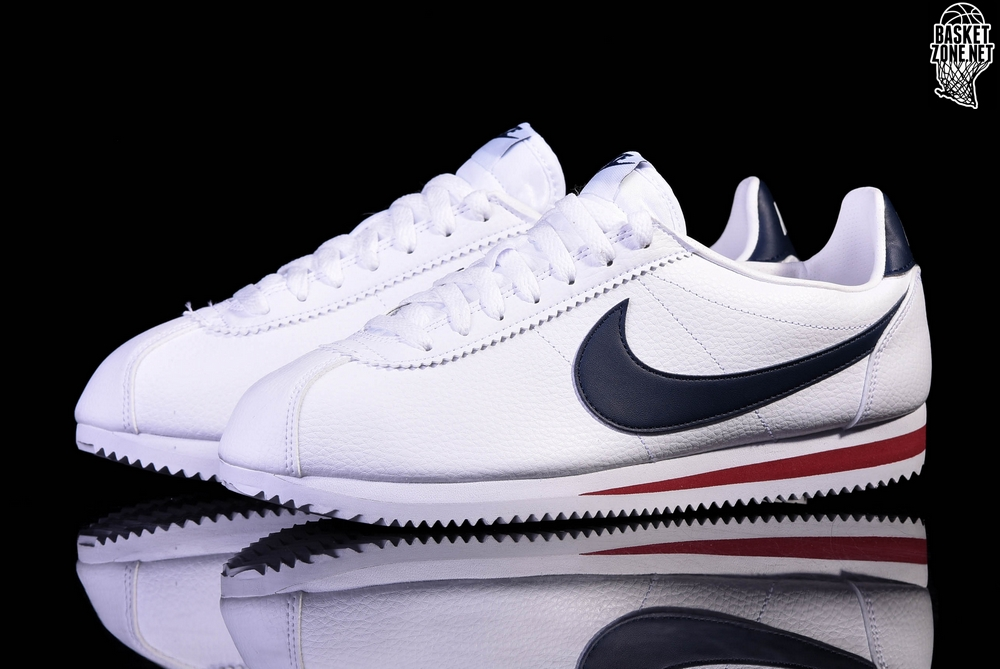 size 40 202e6 8906b NIKE CLASSIC CORTEZ LEATHER WHITE MIDNIGHT NAVY-GYM RED
