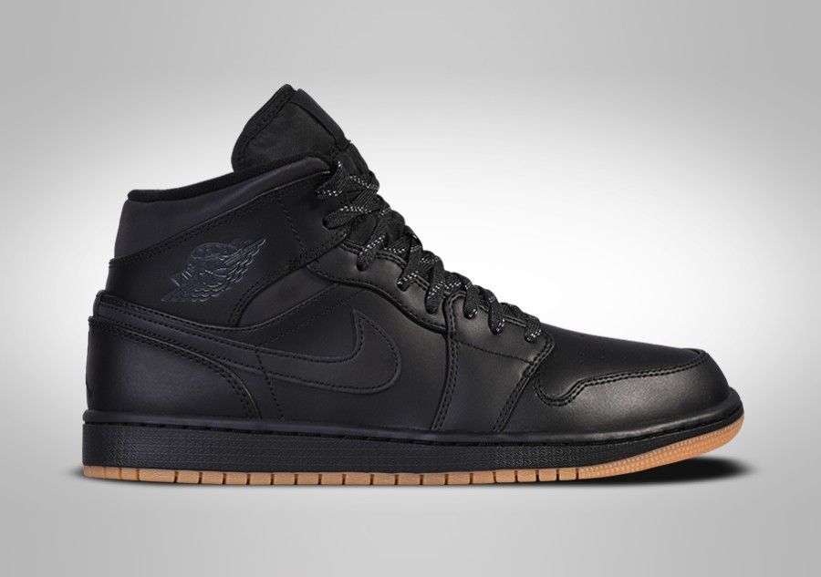detailed look 7f8f0 d6ef2 NIKE AIR JORDAN 1 RETRO MID WINTERIZED BLACK