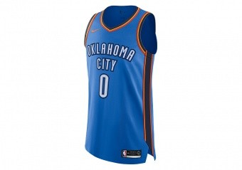 NIKE NBA CONNECTED OKLAHOMA CITY THUNDER RUSSELL WESTBROOK AUTHENTIC JERSEY ROAD SIGNAL BLUE