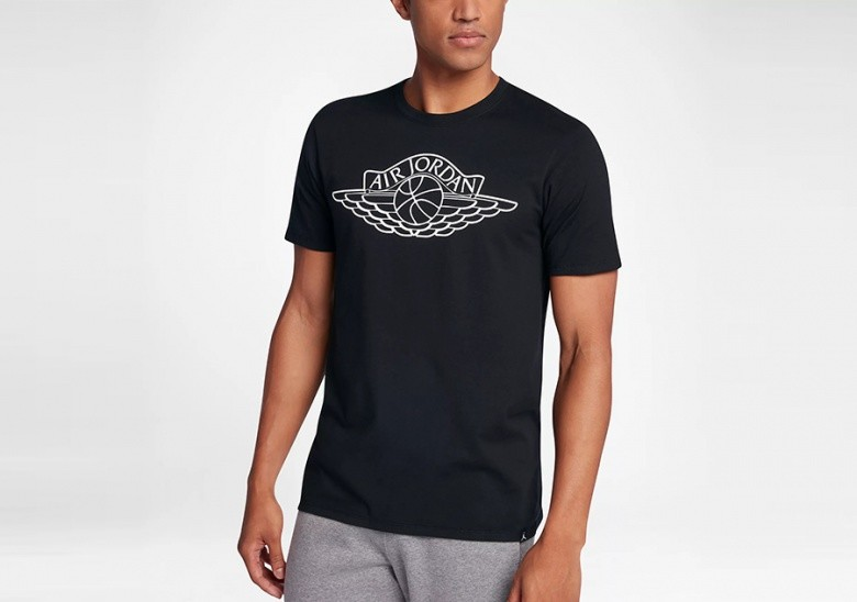 NIKE AIR JORDAN SPORTSWEAR WINGS BRAND 5 TEE BLACK