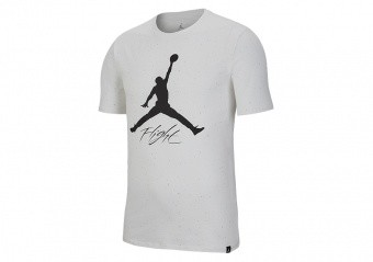 NIKE AIR JORDAN JUMPMAN FLIGHT DNA GRAPHIC 1 CEMENT TEE WHITE