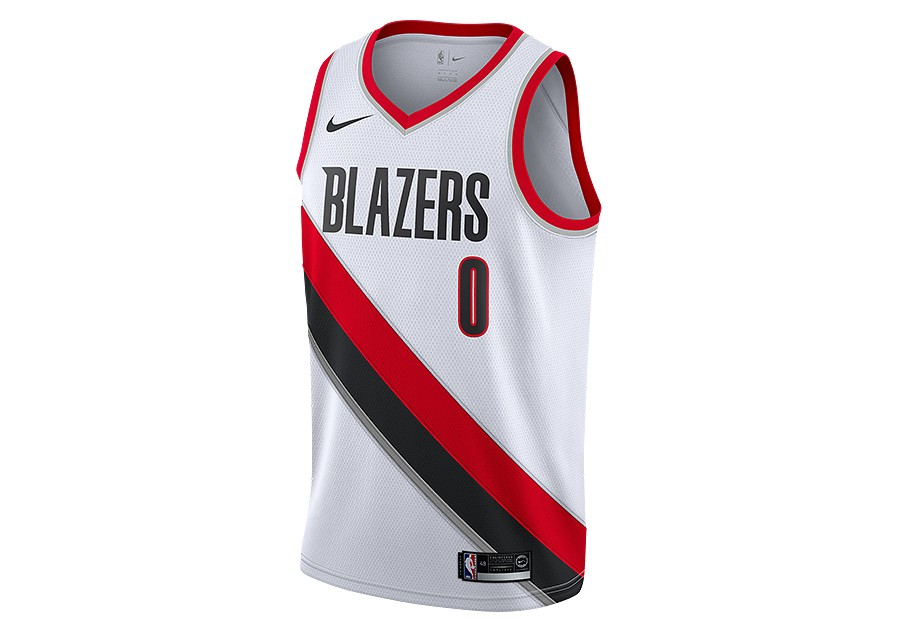 big sale 8bb2d 57829 NIKE NBA PORTLAND TRAIL BLAZERS DAMIAN LILLARD SWINGMAN HOME JERSEY WHITE