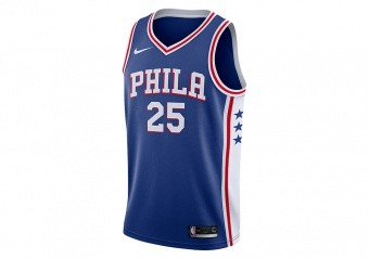 NIKE NBA PHILADELPHIA 76ERS BEN SIMMONS SWINGMAN ROAD JERSEY RUSH BLUE
