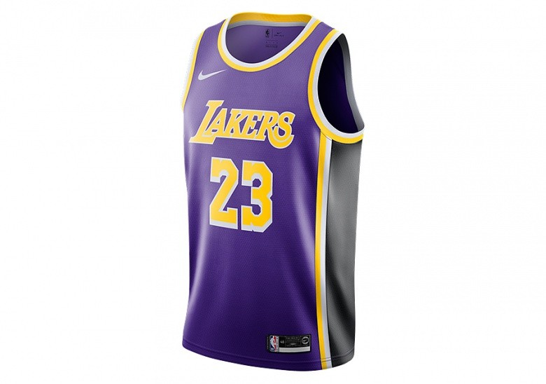 NIKE NBA LOS ANGELES LAKERS LEBRON JAMES SWINGMAN JERSEY FIELD PURPLE