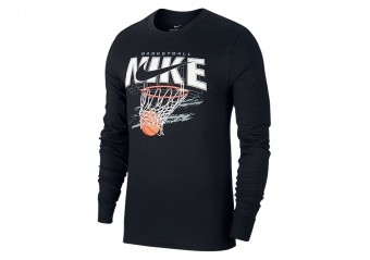 NIKE 'SWISH' LONG SLEEVE DRI-FIT TEE BLACK