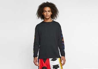 NIKE AIR JORDAN RIVALS CREW LONG SLEEVE TEE BLACK