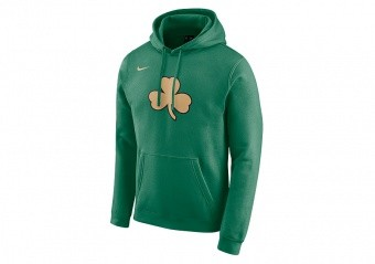 NIKE NBA BOSTON CELTICS LOGO PULLOVER FLEECE HOODIE CLOVER