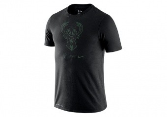 NIKE NBA MILWAUKEE BUCKS DRI-FIT LOGO TEE BLACK