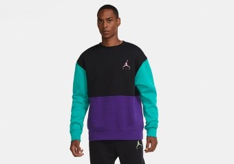 NIKE AIR JORDAN JUMPMAN AIR FLEECE CREW BLACK COURT PURPLE