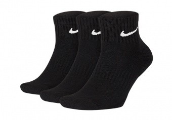 NIKE EVERYDAY CUSHIONED ANKLE SOCKS (3 PAIRS) BLACK
