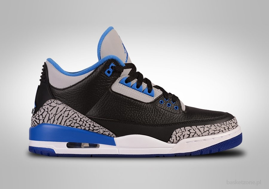 NIKE AIR JORDAN 3 RETRO BLACK SPORT BLUE GS GRADE SCHOOL (SMALLER SIZES)